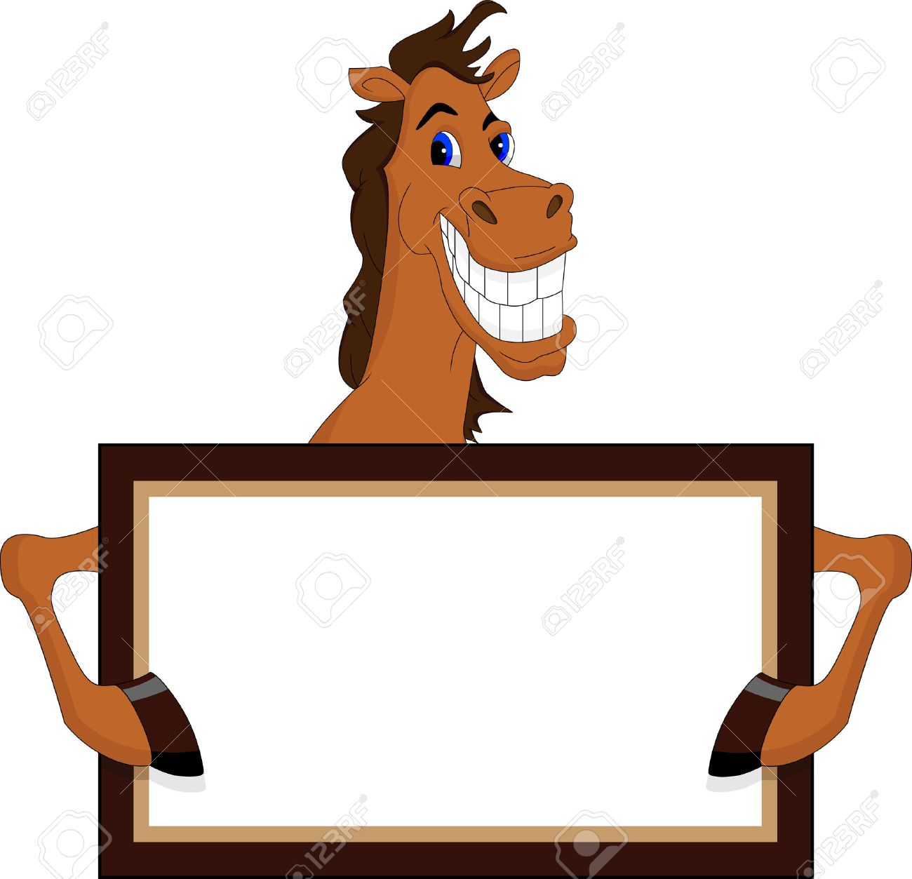 Funny Horse Cartoon With Blank Sign Royalty Free Cliparts Vectors And Stock Illustration Image 23513300