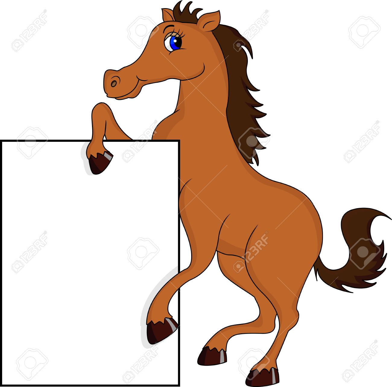 Funny Horse Cartoon With Blank Sign Royalty Free Cliparts Vectors And Stock Illustration Image 23513307