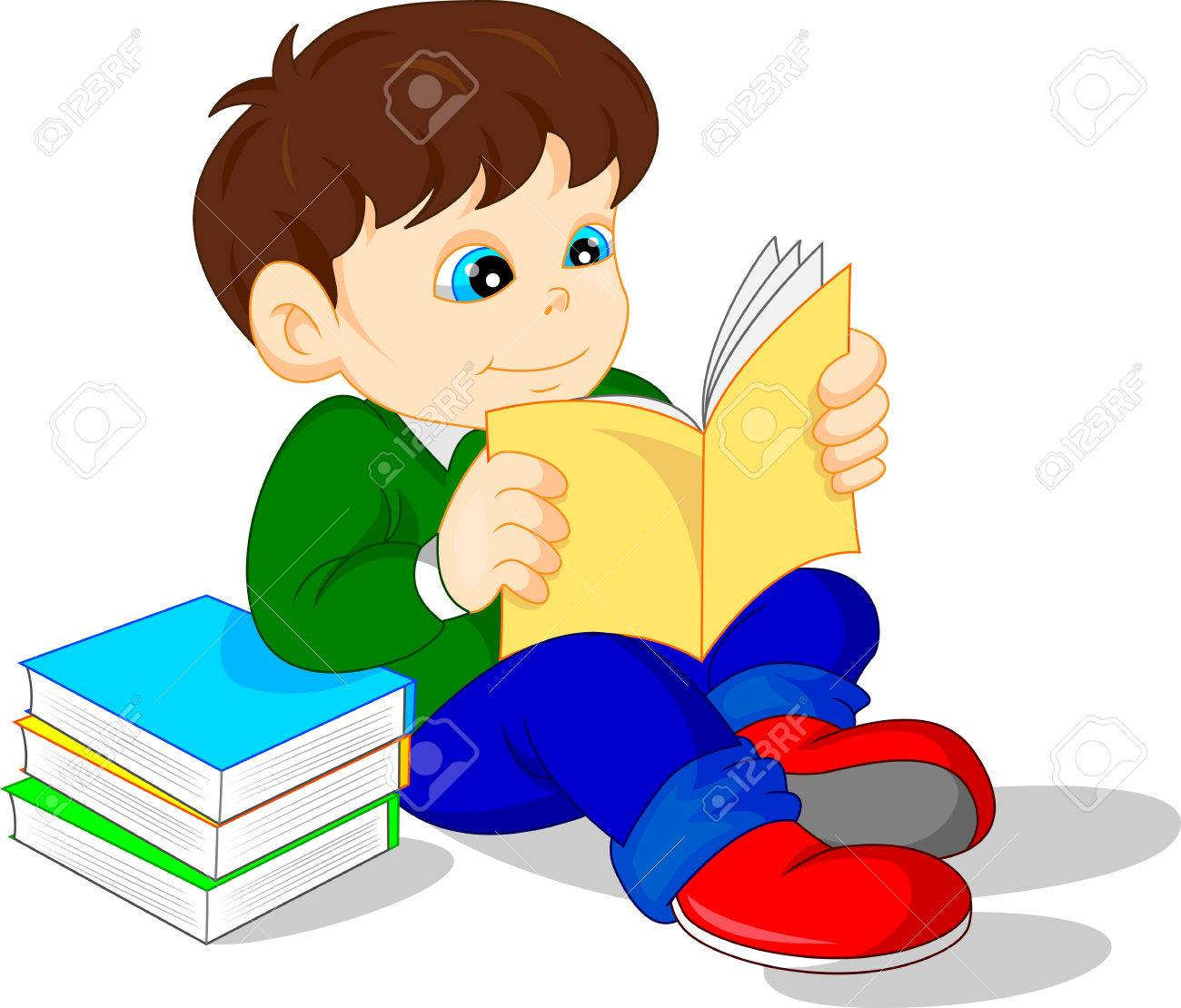 cute boy reading books royalty free cliparts, vectors, and stock