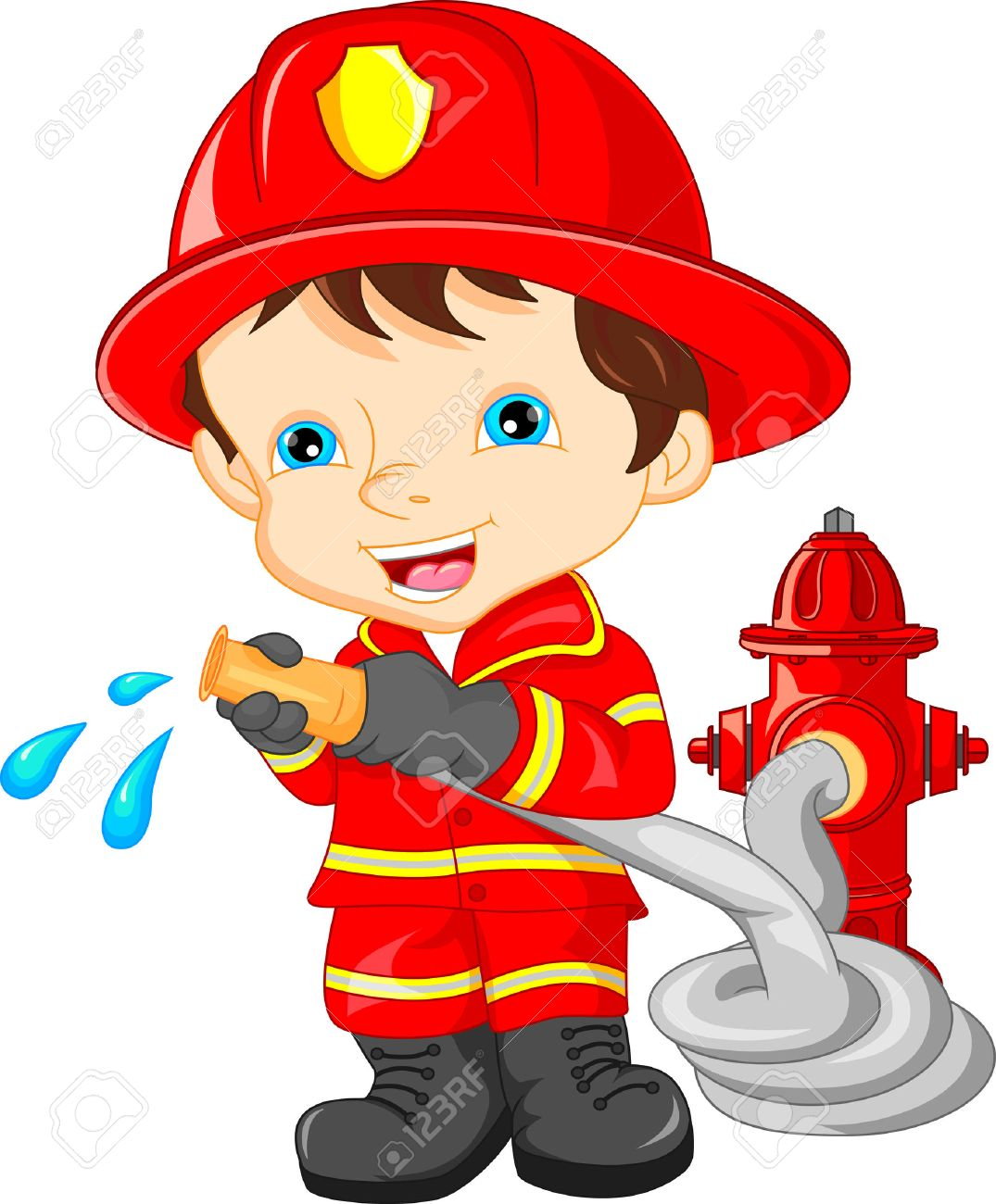young boy wearing firefighter cartoon royalty free cliparts vectors rh 123rf com funny firefighter cartoon pictures Paul Combs Firefighter Cartoons
