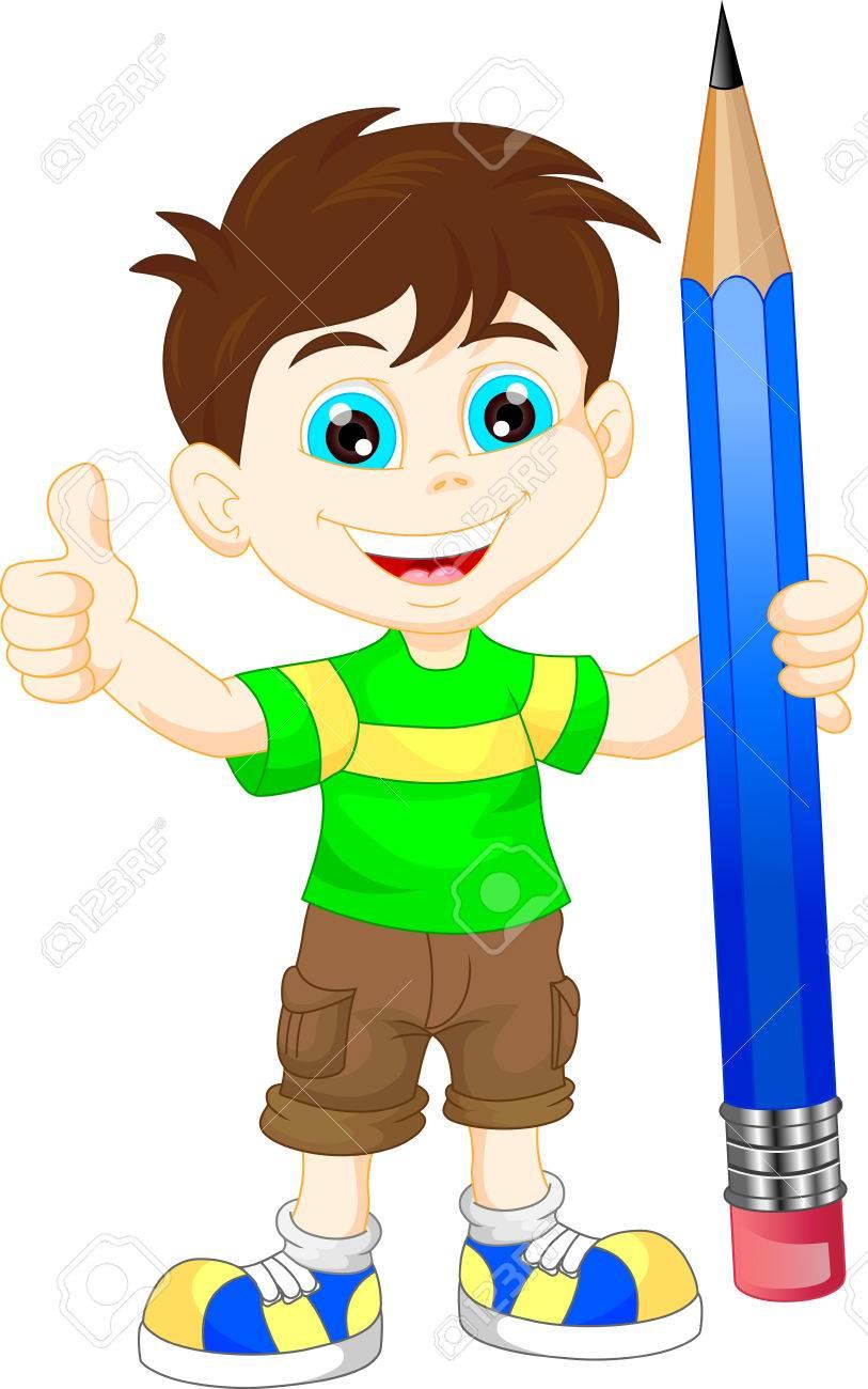 Cartoon boy with pencil stock vector 50955286