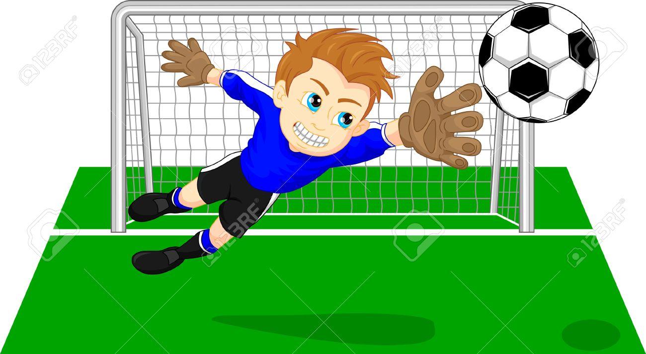 Soccer football goal keeper saving a goal - 58198822