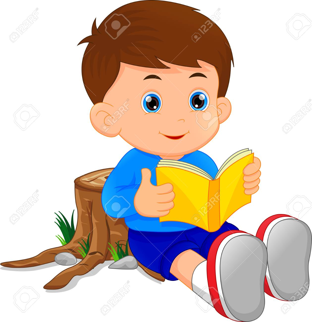 cute little boy reading book royalty free cliparts, vectors, and