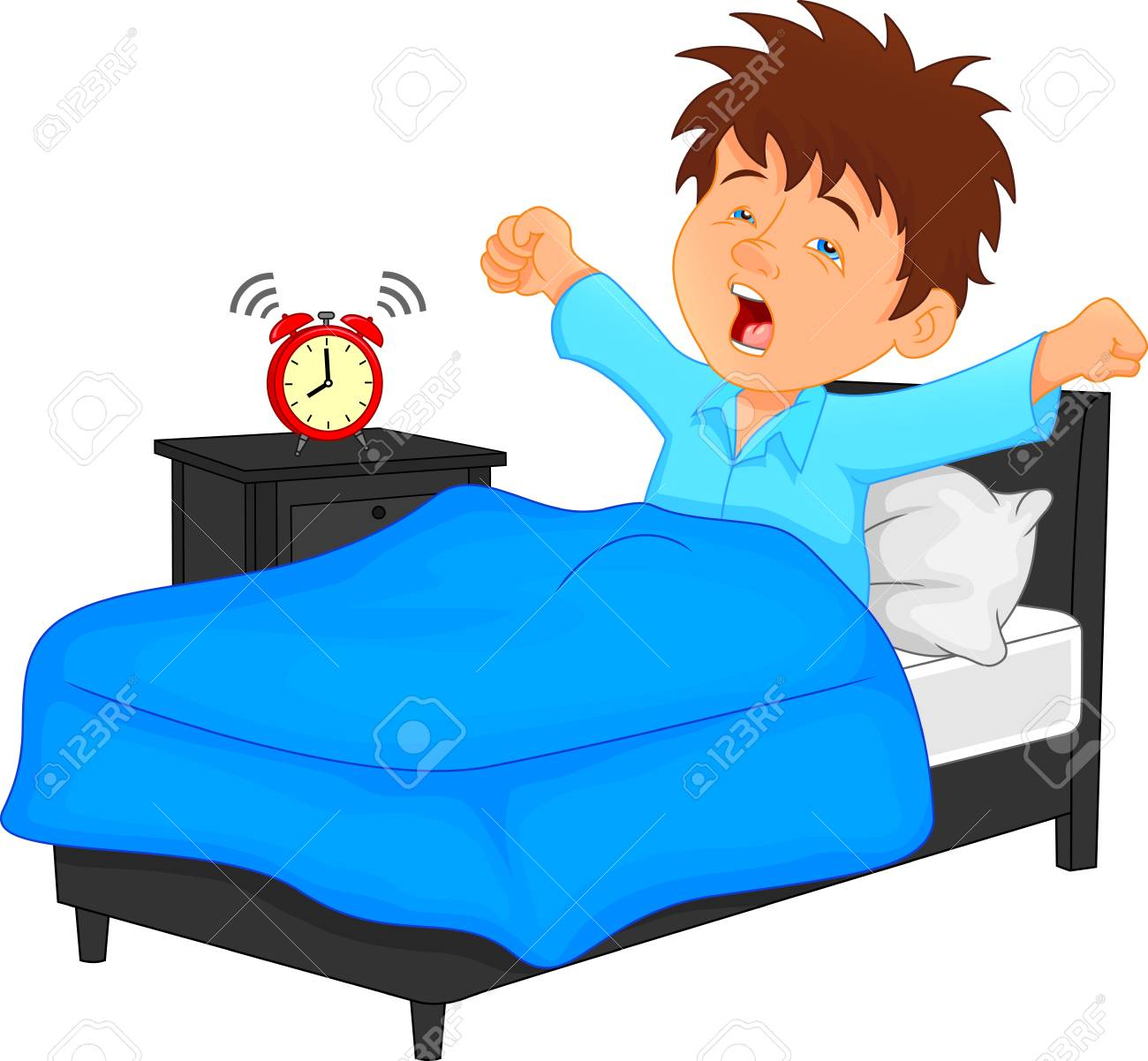 little boy wake up in the morning royalty free cliparts vectors rh 123rf com waking up clipart black and white waking up clipart images