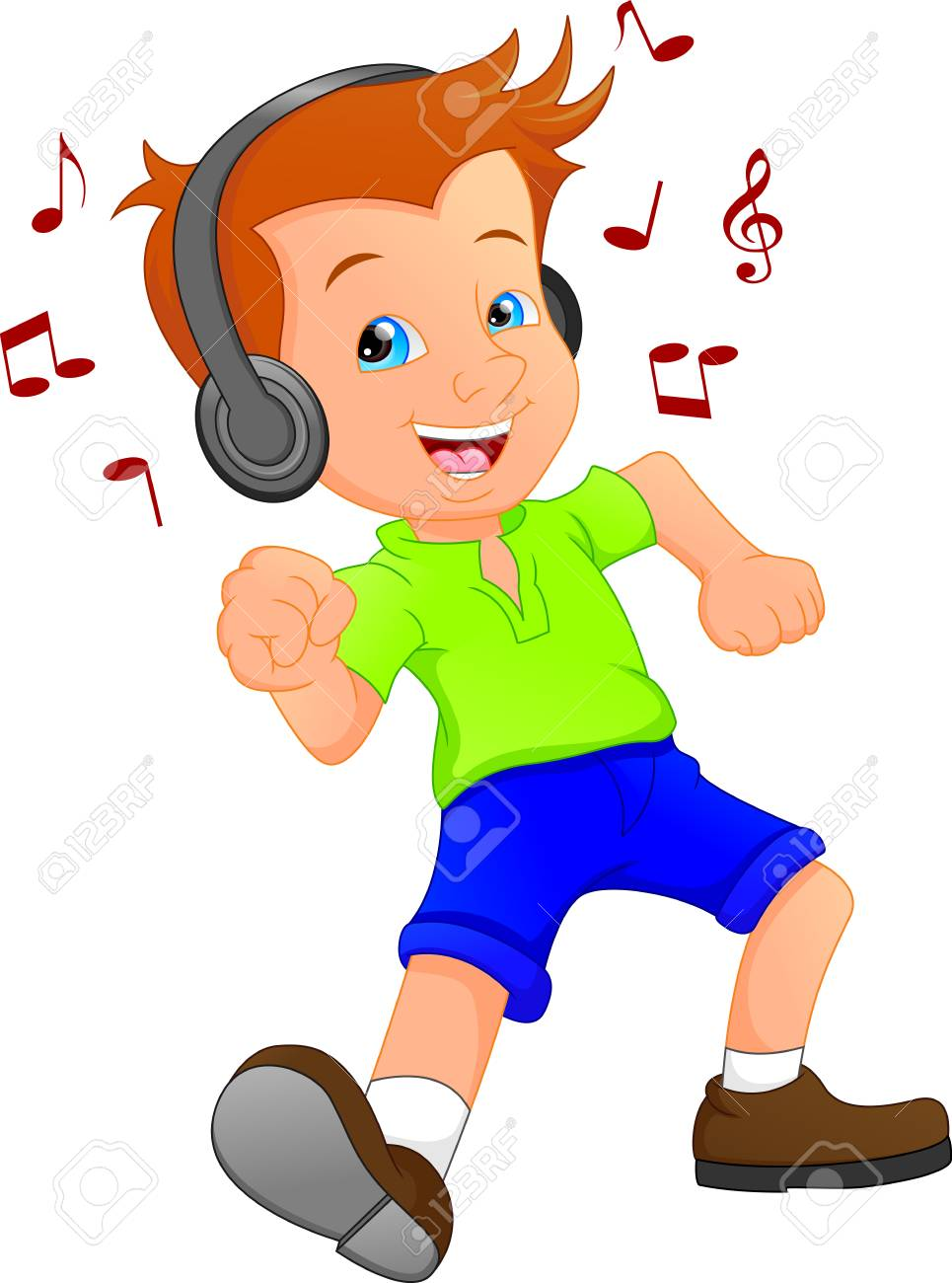 a funny cartoon boy listening to music and dancing royalty free