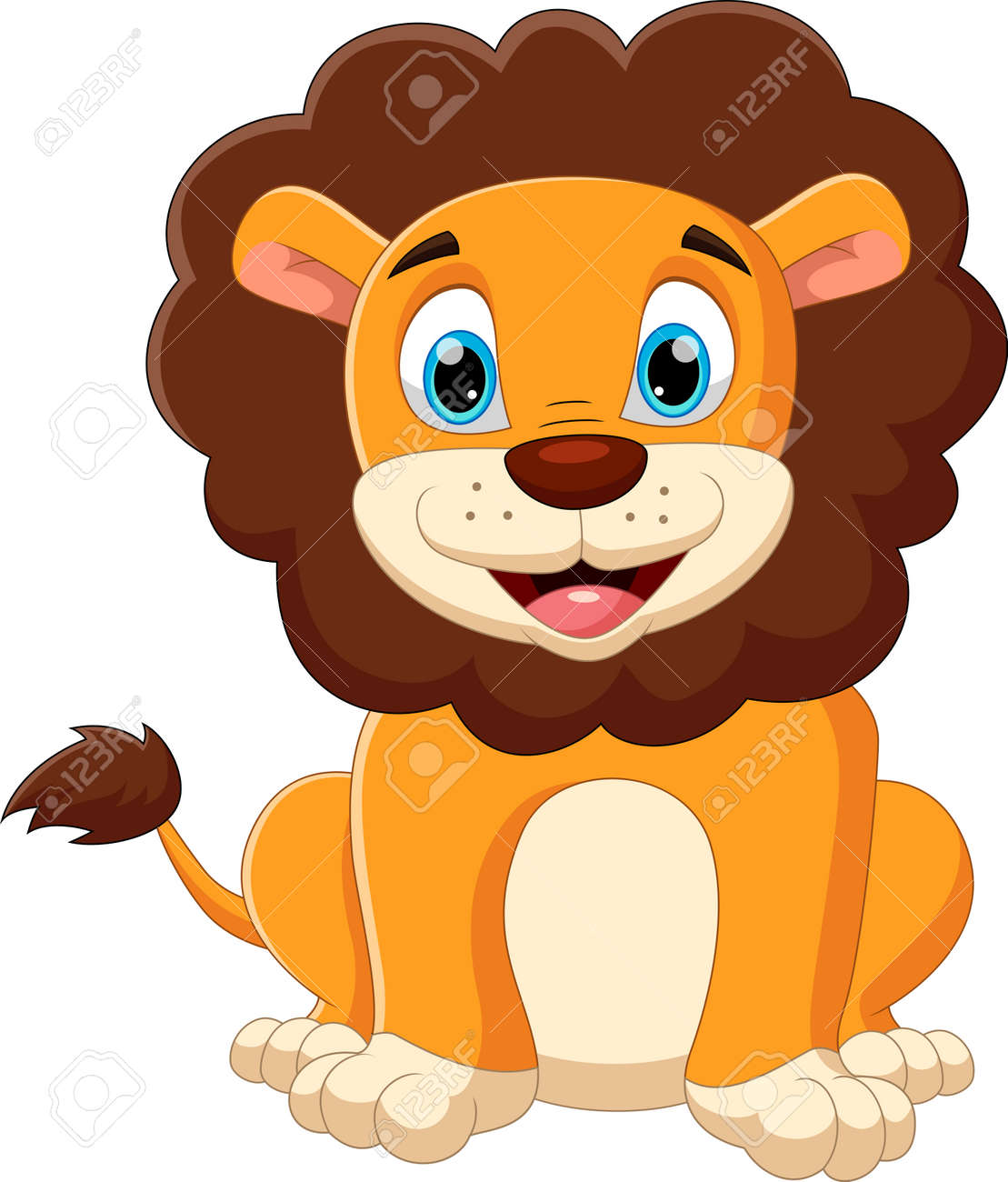 cartoon baby lion posing with smile - 168593010
