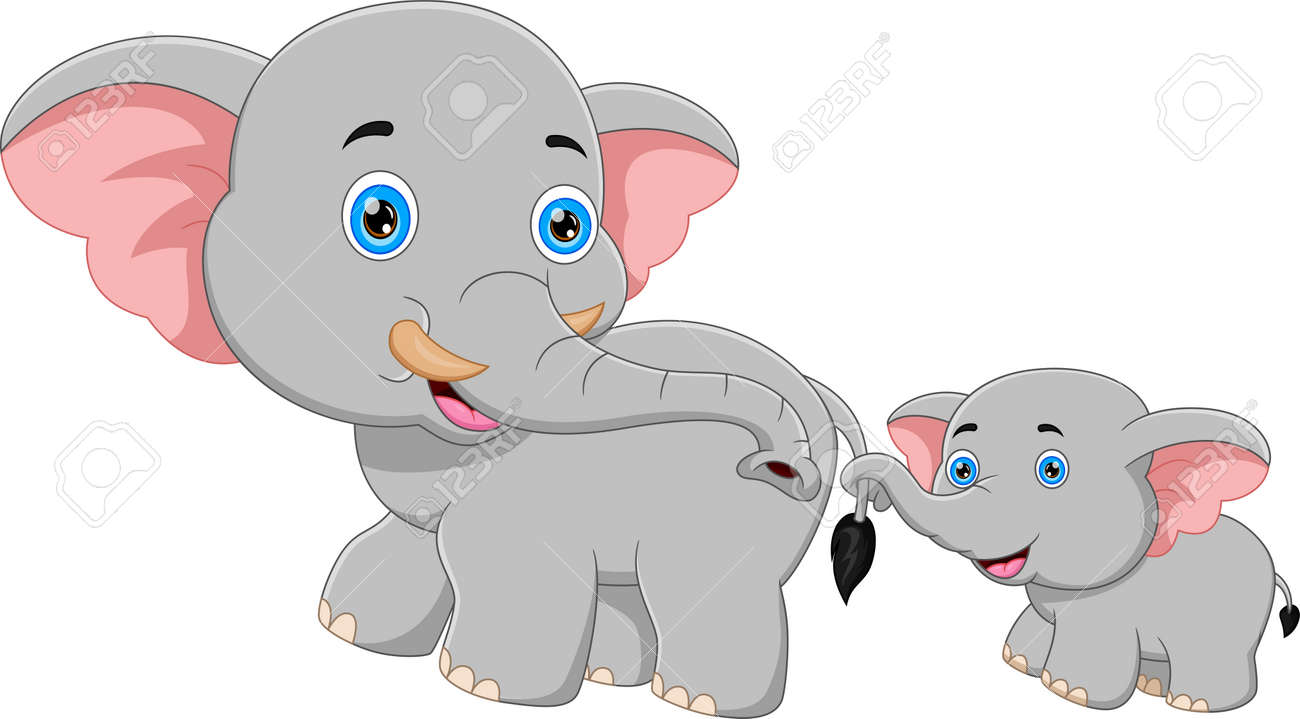 cartoon mother elephant and baby elephant walking - 168596882