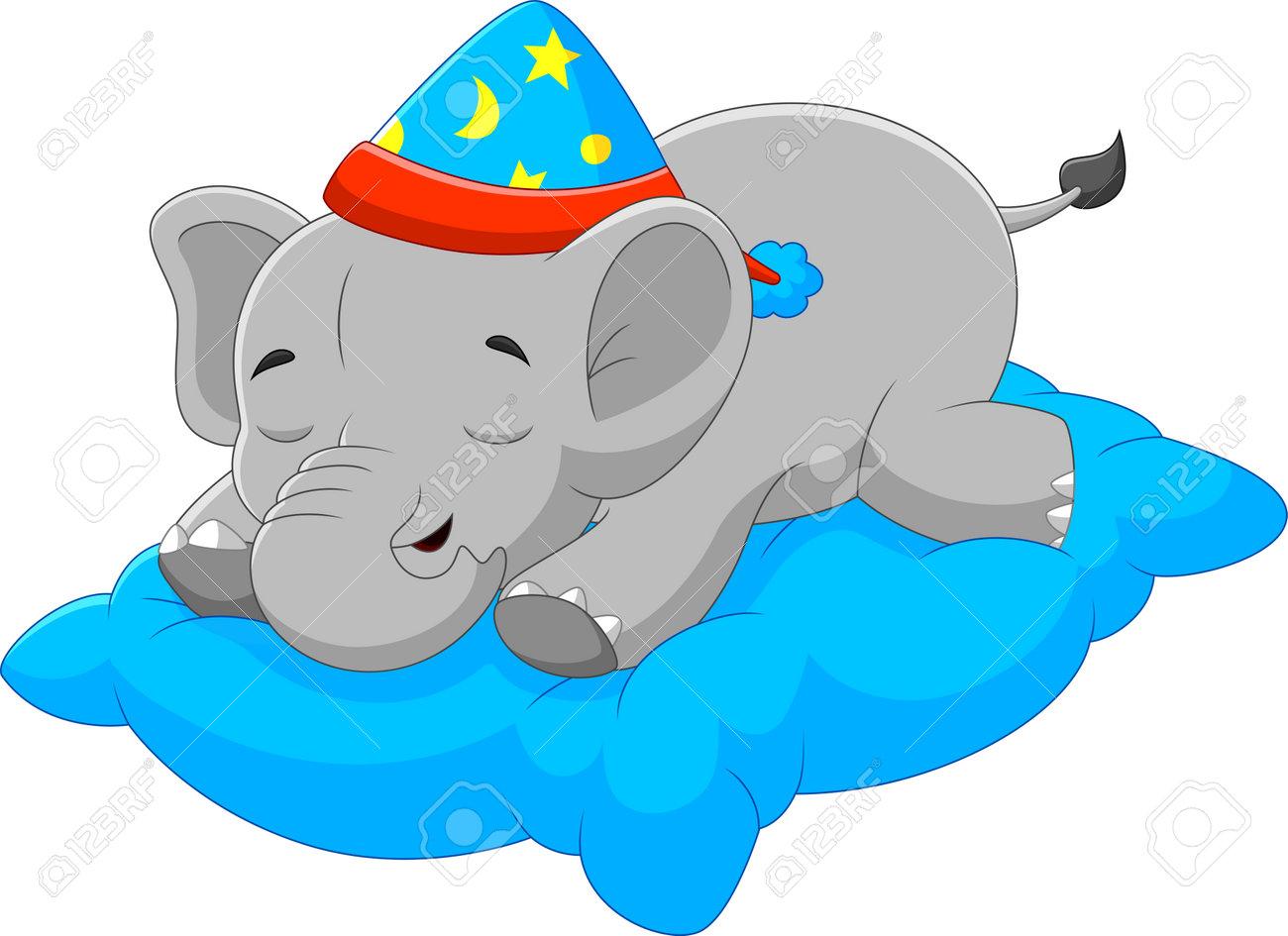 cartoon baby elephant sleeping on pillow - 169087668