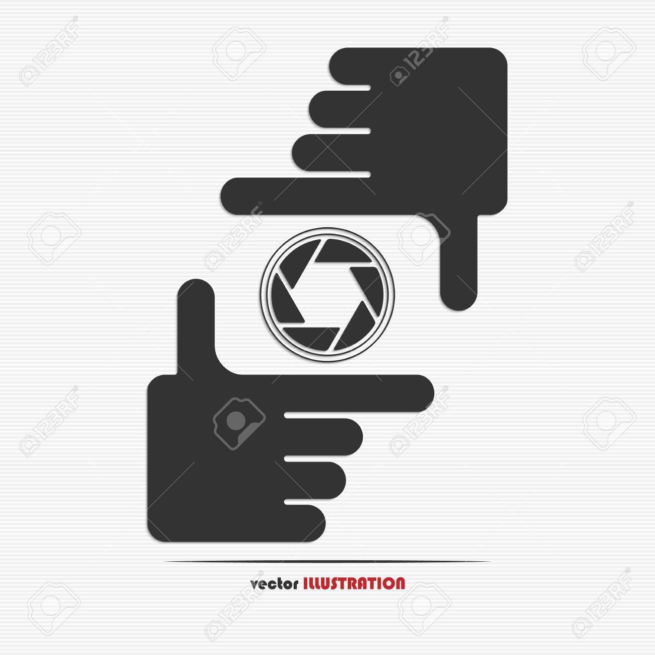 Manos Encuadre Y Web Icono Diafragma Para Su Diseño Ilustraciones ...