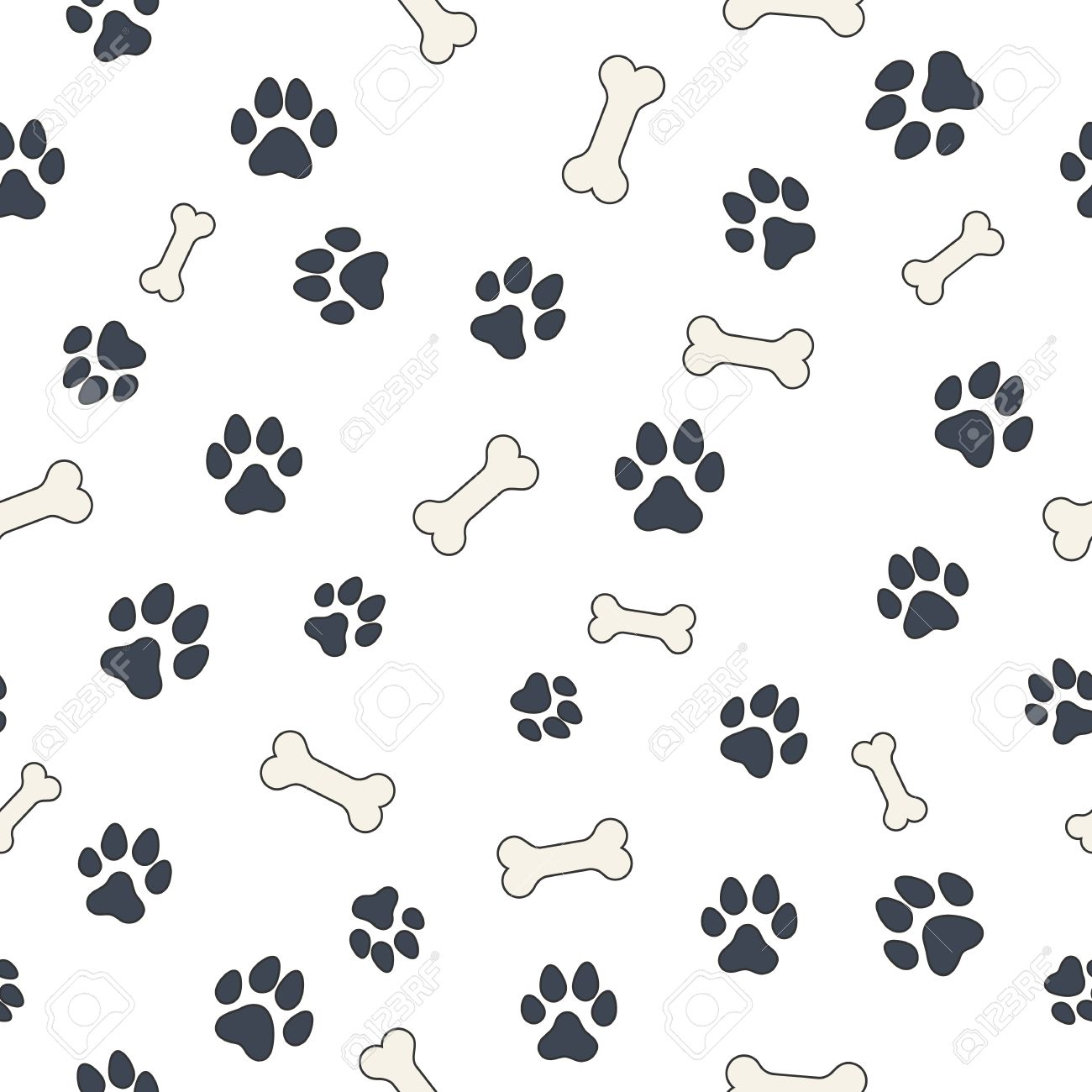 Seamless Wallpaper Pattern With Dogs Bones And Paws For Your Design Stock Vector