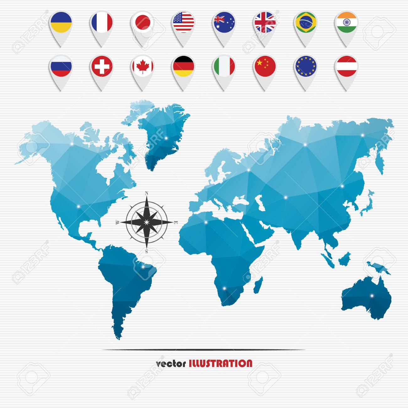 Vector illustration of world map with markers and circle national vector vector illustration of world map with markers and circle national flags for your design gumiabroncs Choice Image