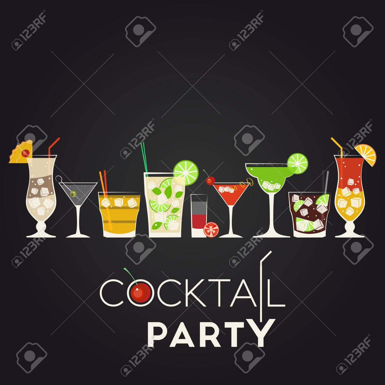 Vector set of different alcohol cocktails. Pina Colada, Dry Martini, Screwdriver, Mojito, Bloody Mary, Cosmopolitan, Margarita, Cuba Libre, Tequila Sunrise. Cocktail party invitation poster for your design - 38814813