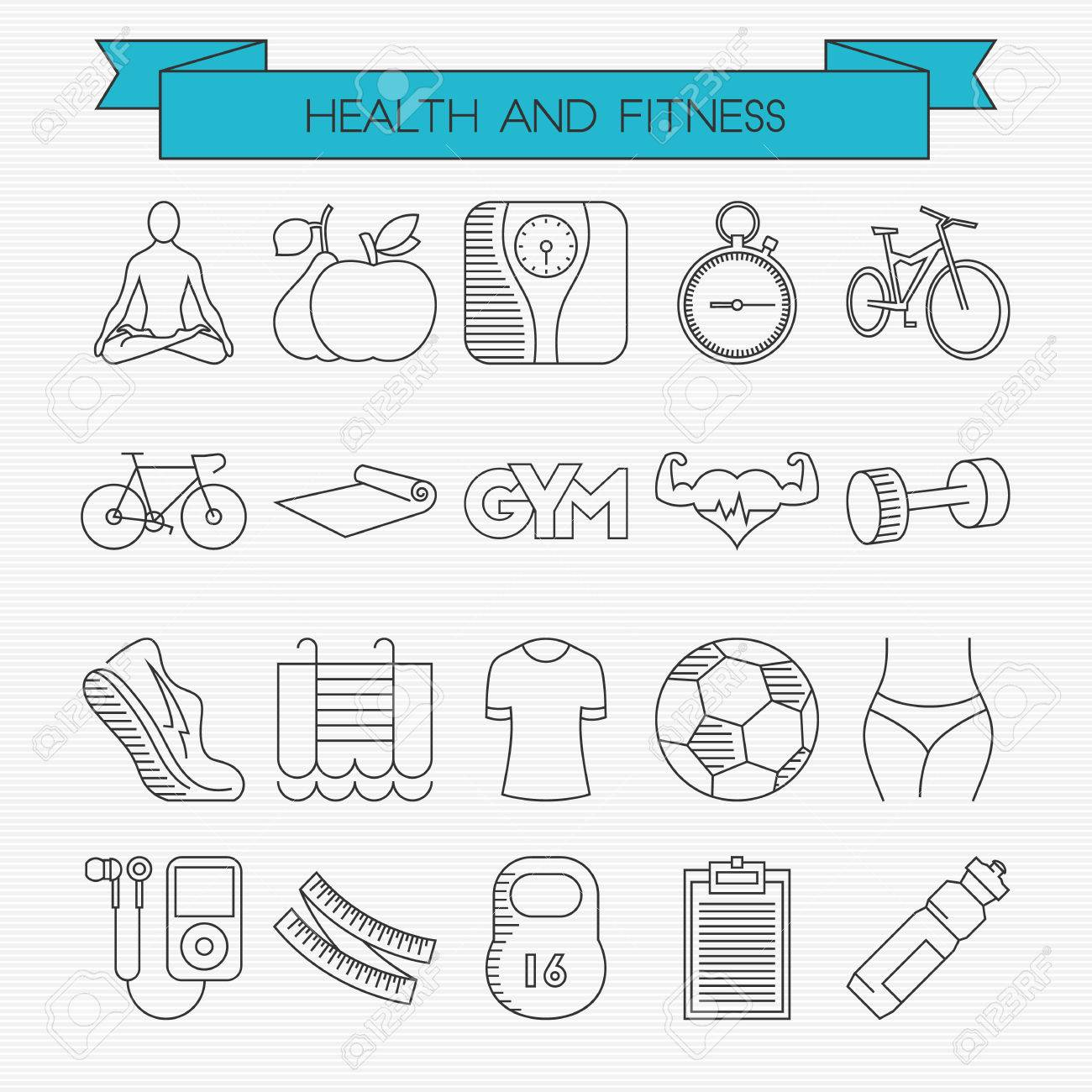 Health And Fitness Line Icons Set. Yoga, Calories, Weight ...