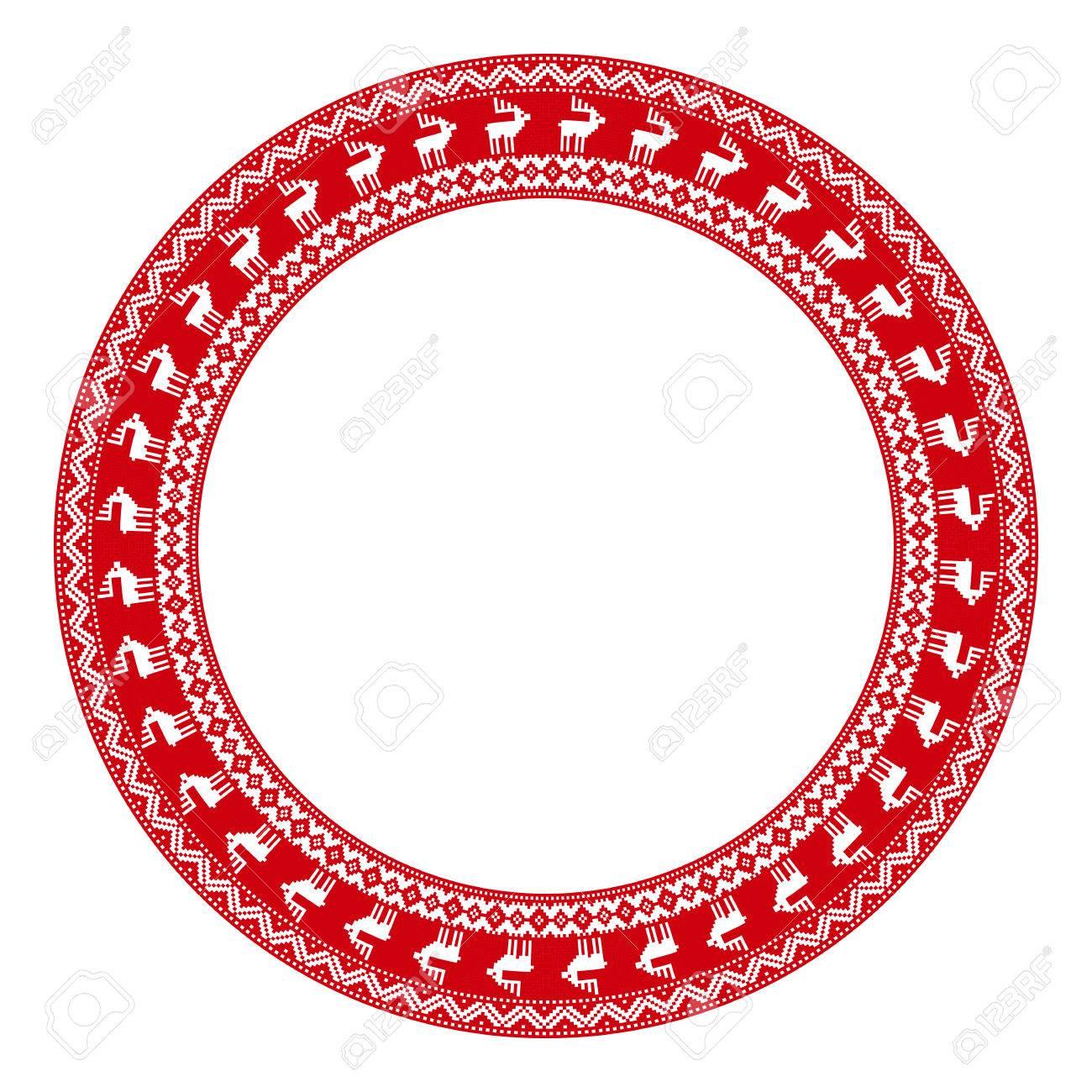 Feliz Navidad Redonda Bordado Patrón Para Su Diseño Ilustraciones ...