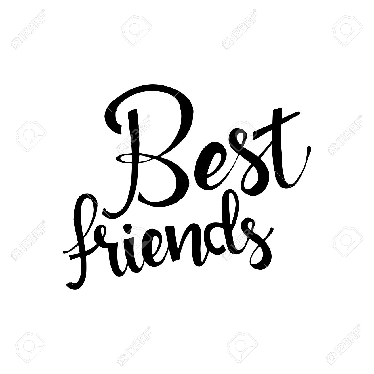 Best Friends Phrase Lettering Modern Calligraphy Isolated On White Background
