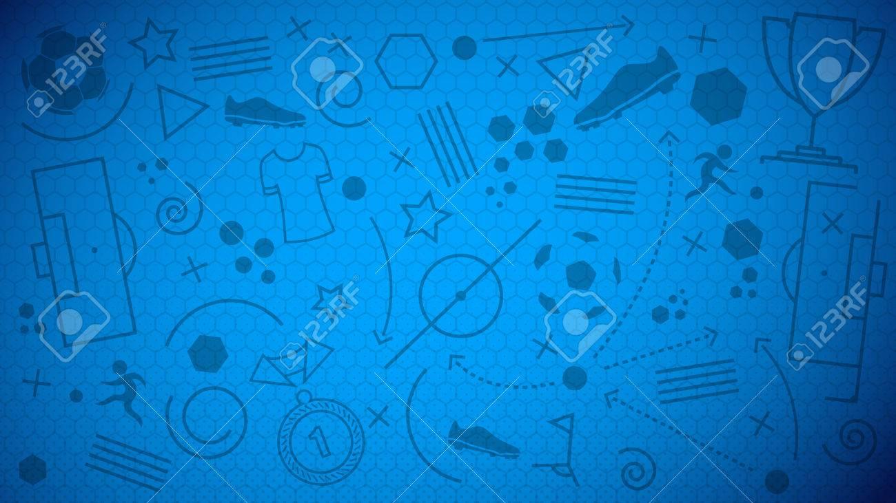 Fondo del balompié campeonato. Ilustración vectorial de fondo abstracto azul  de fútbol con diferentes iconos 4ec37d7686dcc