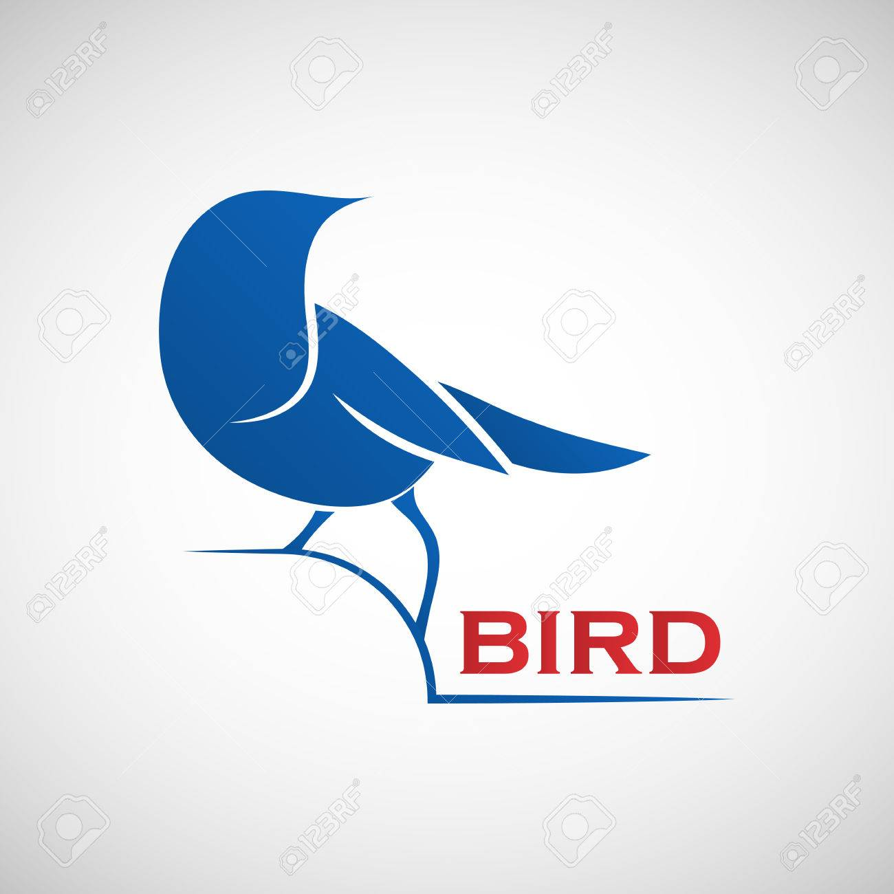 Abstract Blue Bird Logo Template Vector Illustration Of Sparrow