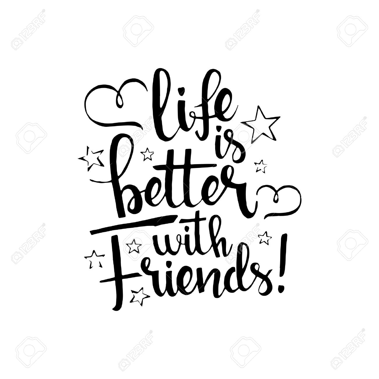 Life is better with friends handwritten lettering happy friendship life is better with friends handwritten lettering happy friendship day greeting card modern vector kristyandbryce Choice Image