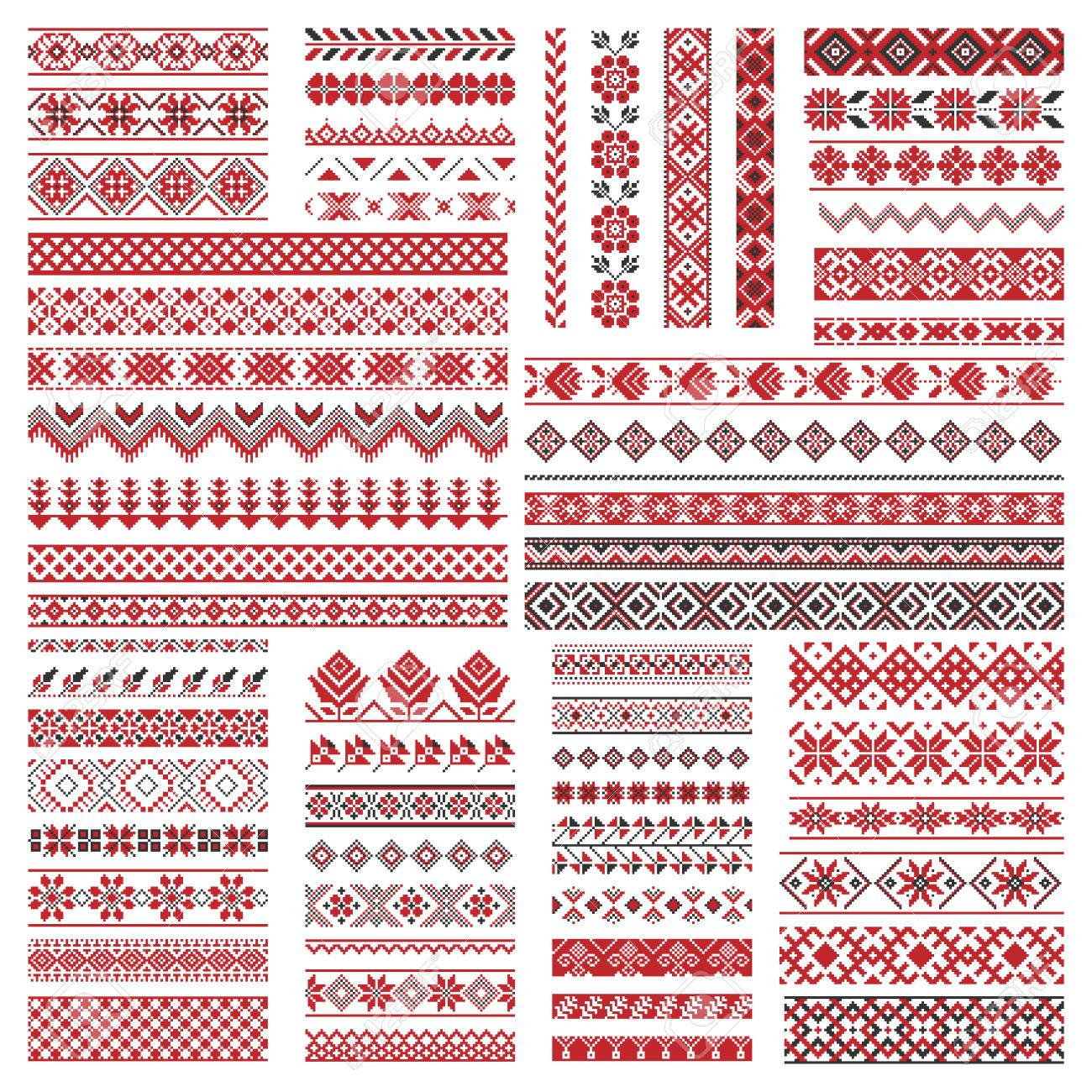 Big set of traditional embroidery. Vector illustration of ethnic seamless ornamental geometric patterns for your design - 59802772