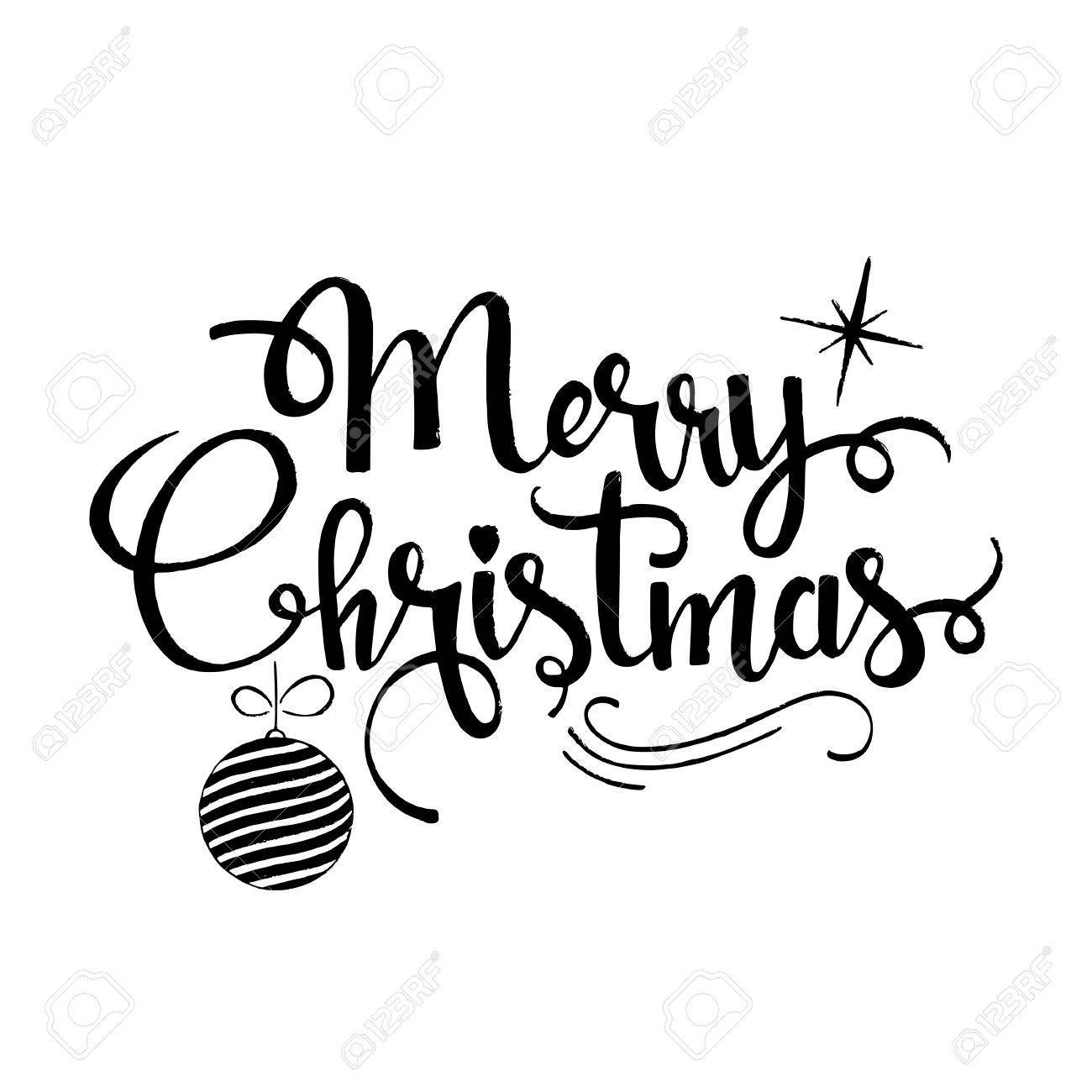 Merry Christmas Lettering.Merry Christmas Lettering Modern Hand Drawn Calligraphy With