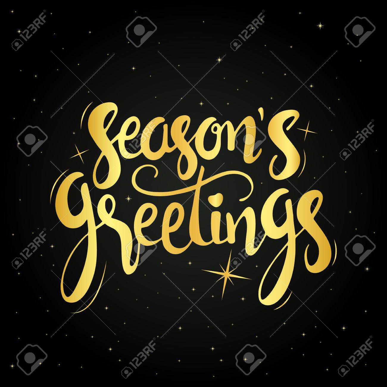 Seasons greetings golden handwritten lettering modern hand drawn seasons greetings golden handwritten lettering modern hand drawn calligraphy over starry night background for your kristyandbryce Image collections