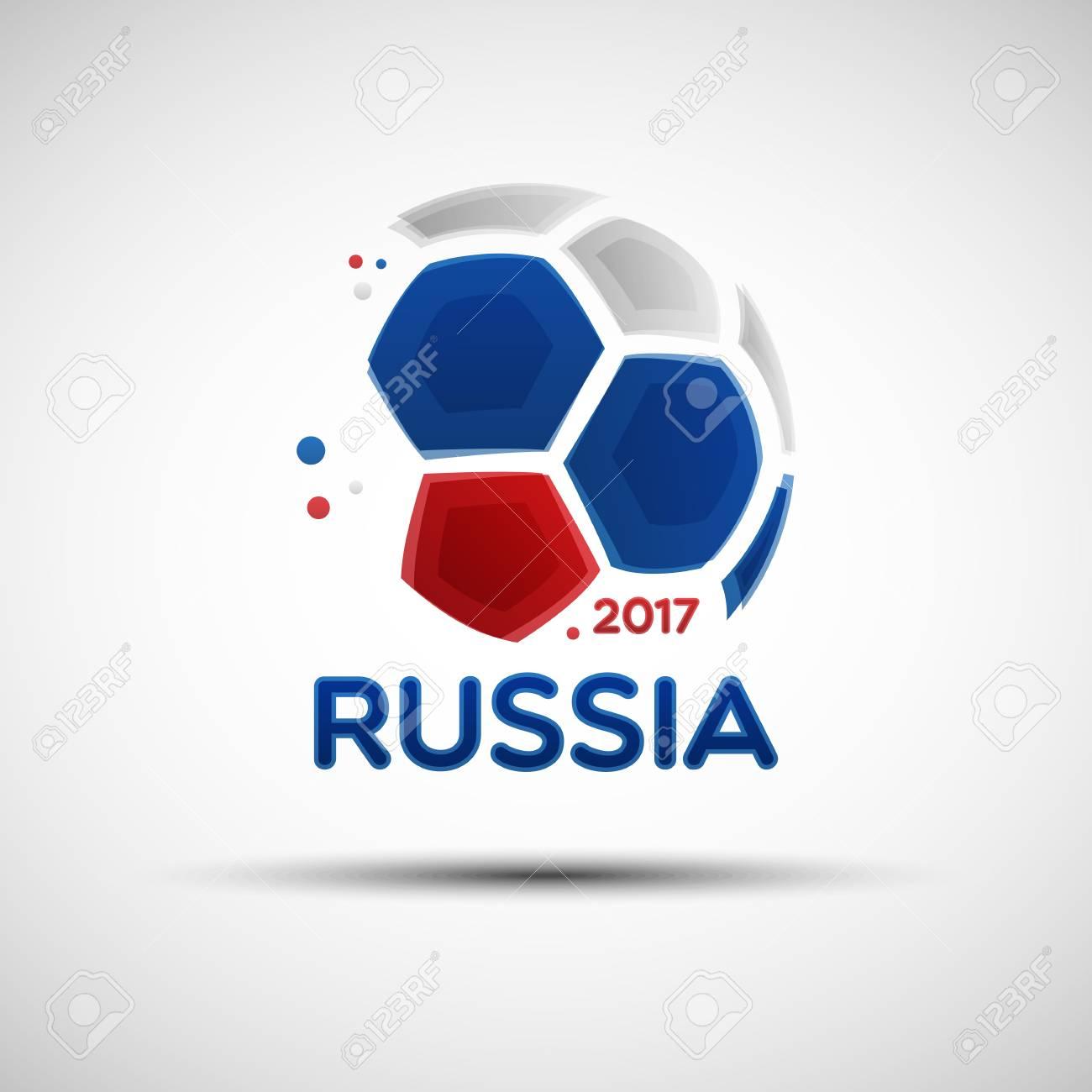 Bandera del campeonato de fútbol. Bandera de Rusia Ilustración de vector de  balón de fútbol fa5028cf1aada
