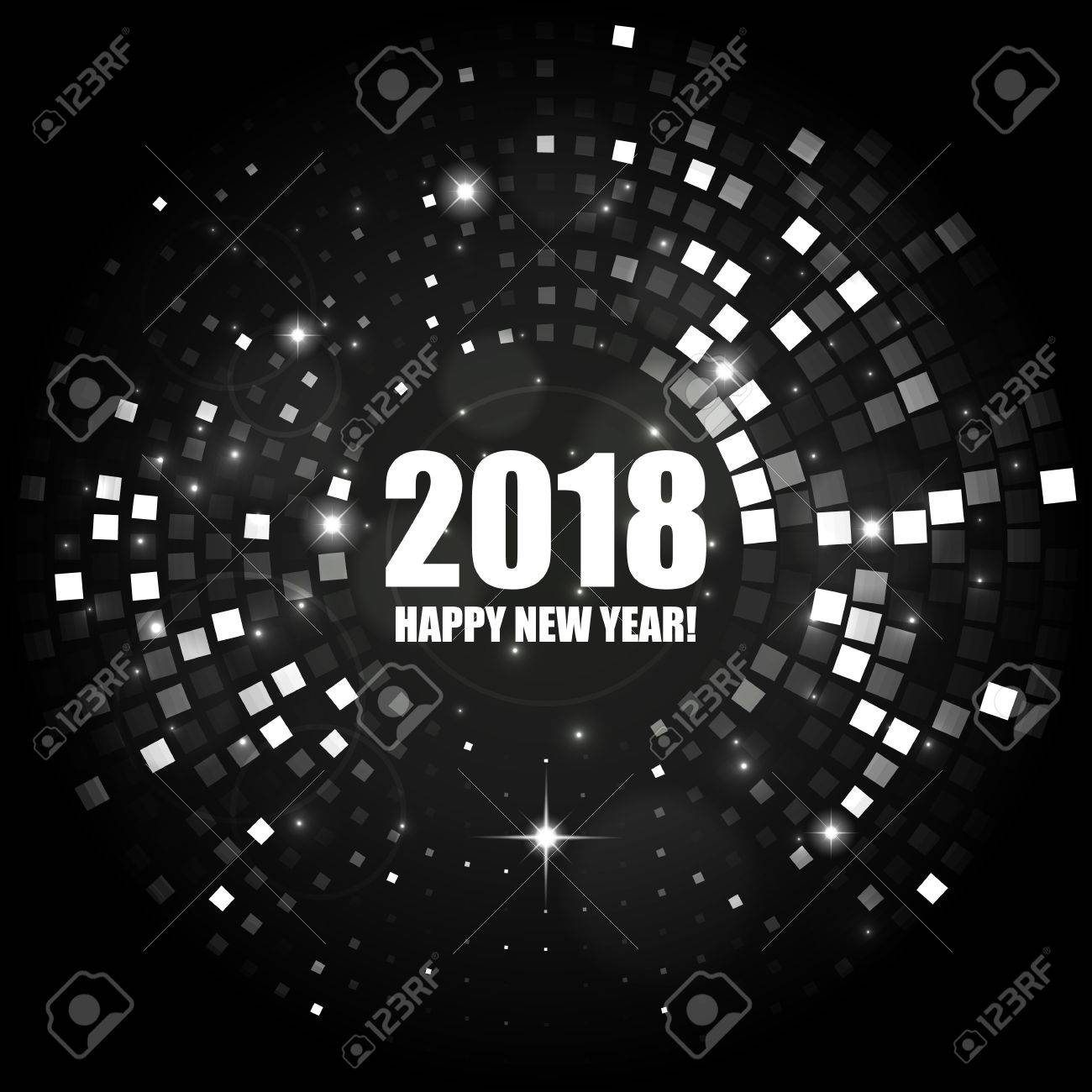 happy new year 2018 abstract black and white light background for your design stock vector