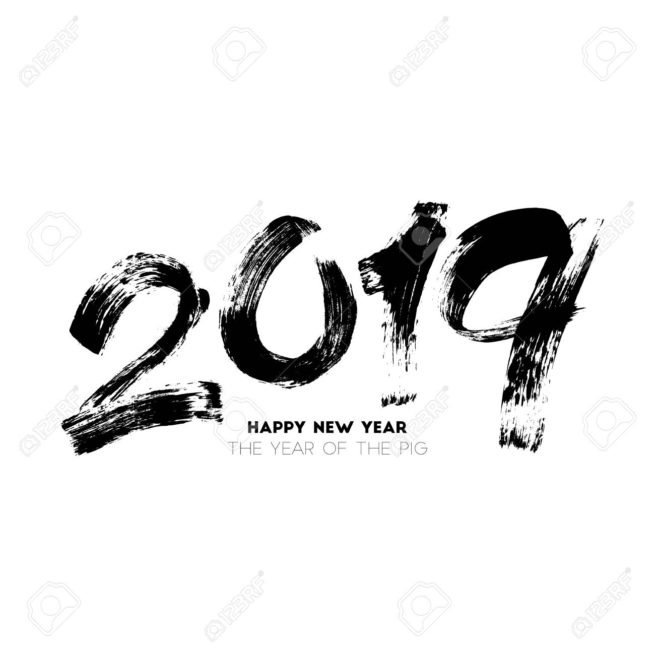 Brush painted vector illustration of the 2019 New Year. The year of the pig. Handwritten lettering isolated on white background for your poster, banner, invitation or greeting card design - 106962226