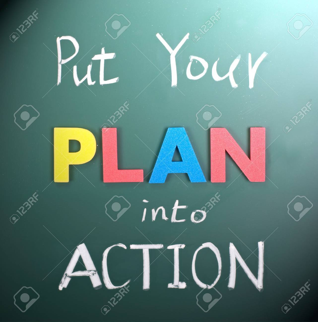 put your plan into action words on blackboard stock photo put your plan into action words on blackboard stock photo 8947348