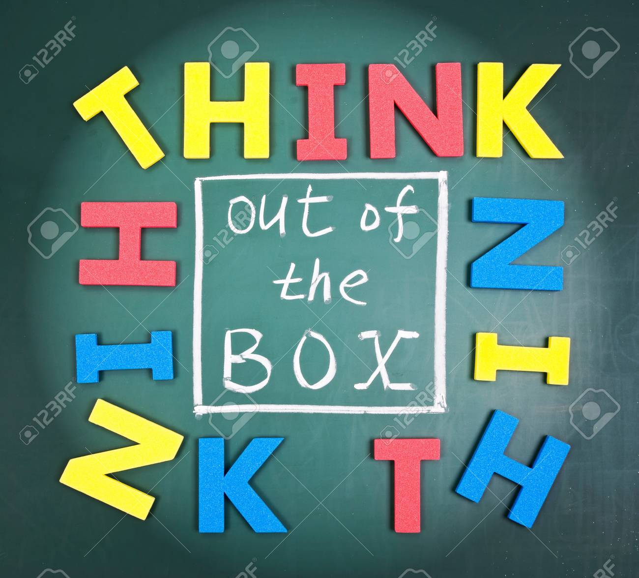 Think out of box, colorful words on blackboard. Stock Photo - 9049677