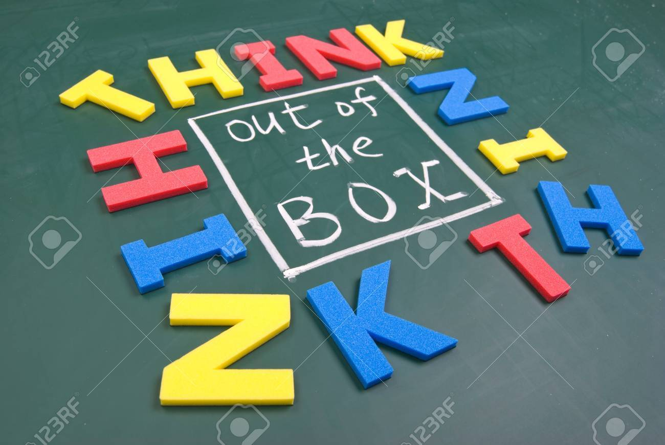 Think out of box, colorful words on blackboard. Stock Photo - 10689812