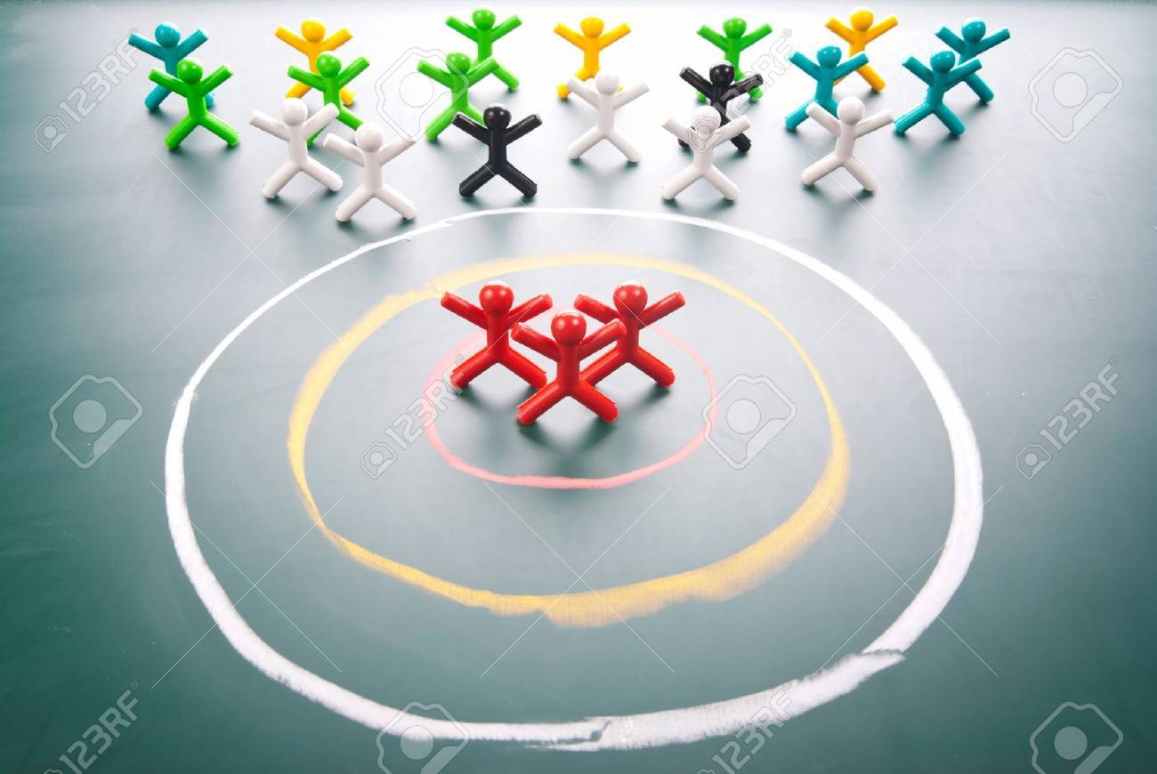 Target concept. People be selected in the center of circle. - 11015939