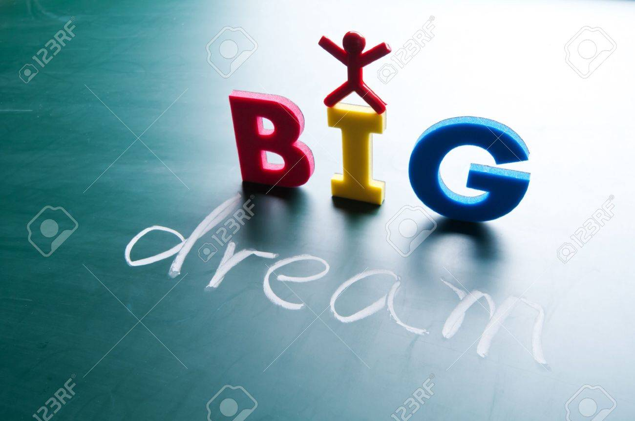I dream big words on blackboard with colorful alphabets. Stock Photo - 11395653