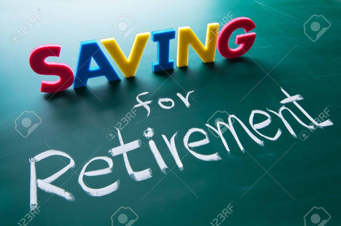 Saving for retirement, colorful words on blackboard Stock Photo - 11395655