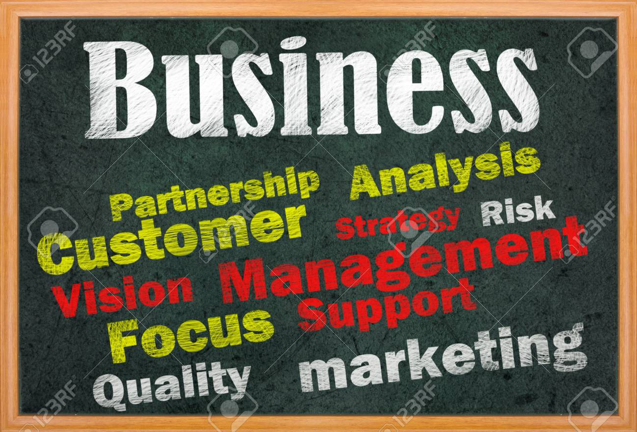 Business concept with other related words on retro blackboard Stock Photo - 12615434
