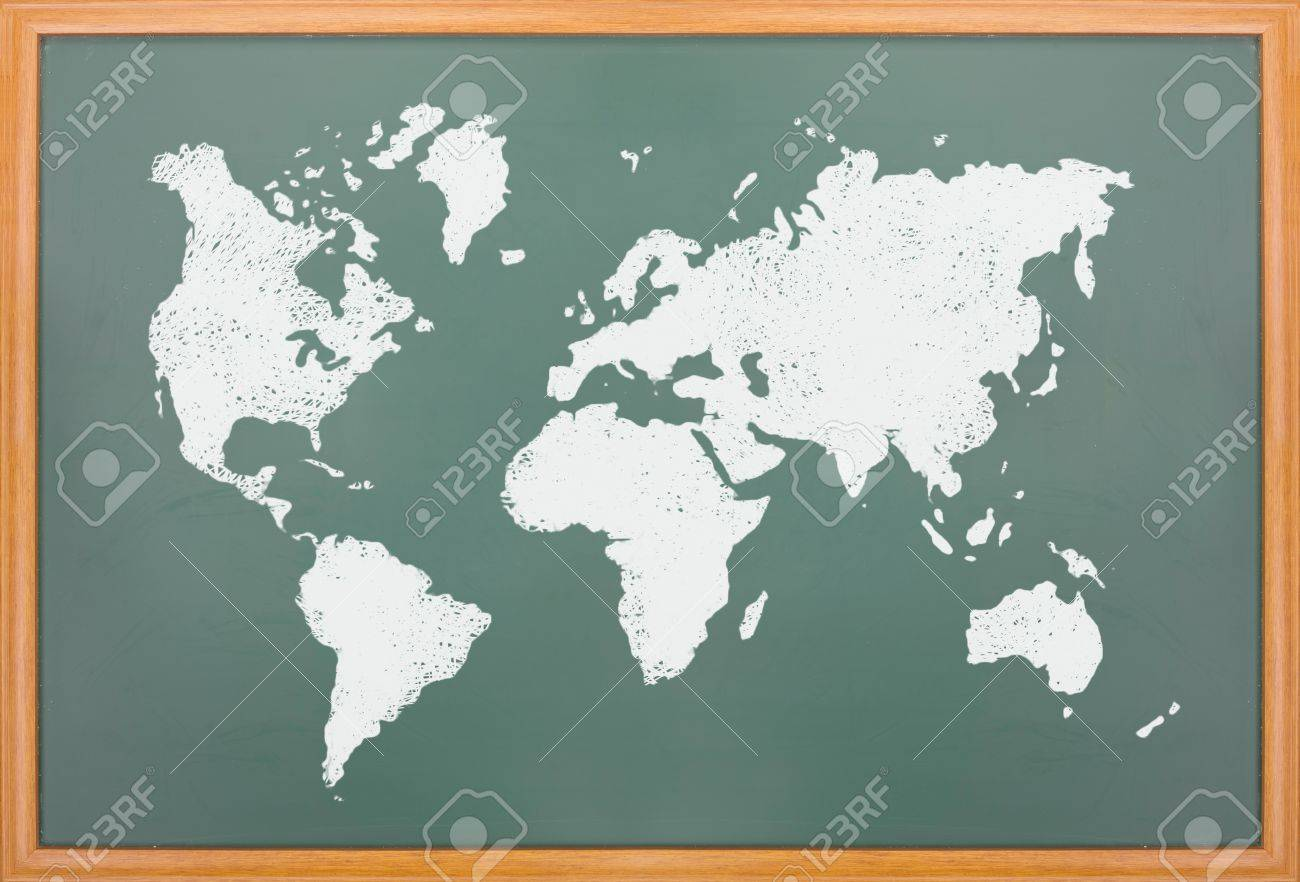 World Map Draw On Blackboard With Wooden Frame Stock Photo Picture