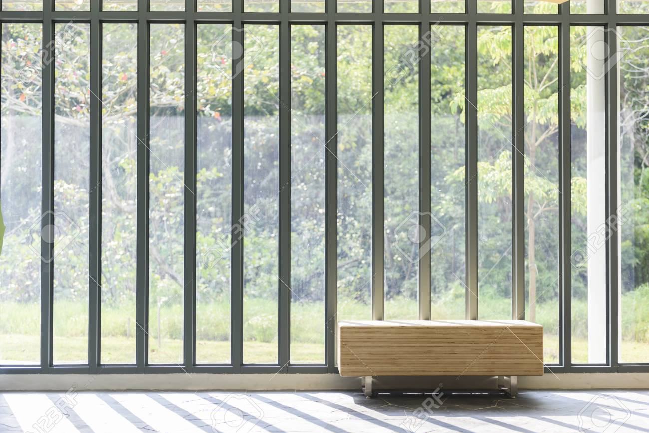 Admirable Wooden Bench In Front Of French Window With Sunlight And Countryside Ibusinesslaw Wood Chair Design Ideas Ibusinesslaworg