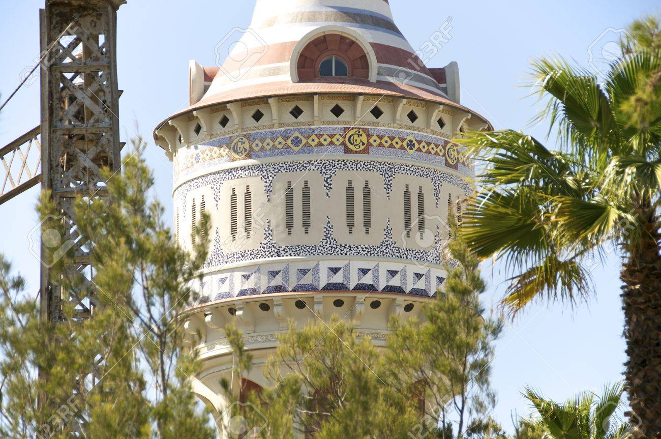 Restored water tower with Moorish elements in Barcelona Stock Photo - 13511652