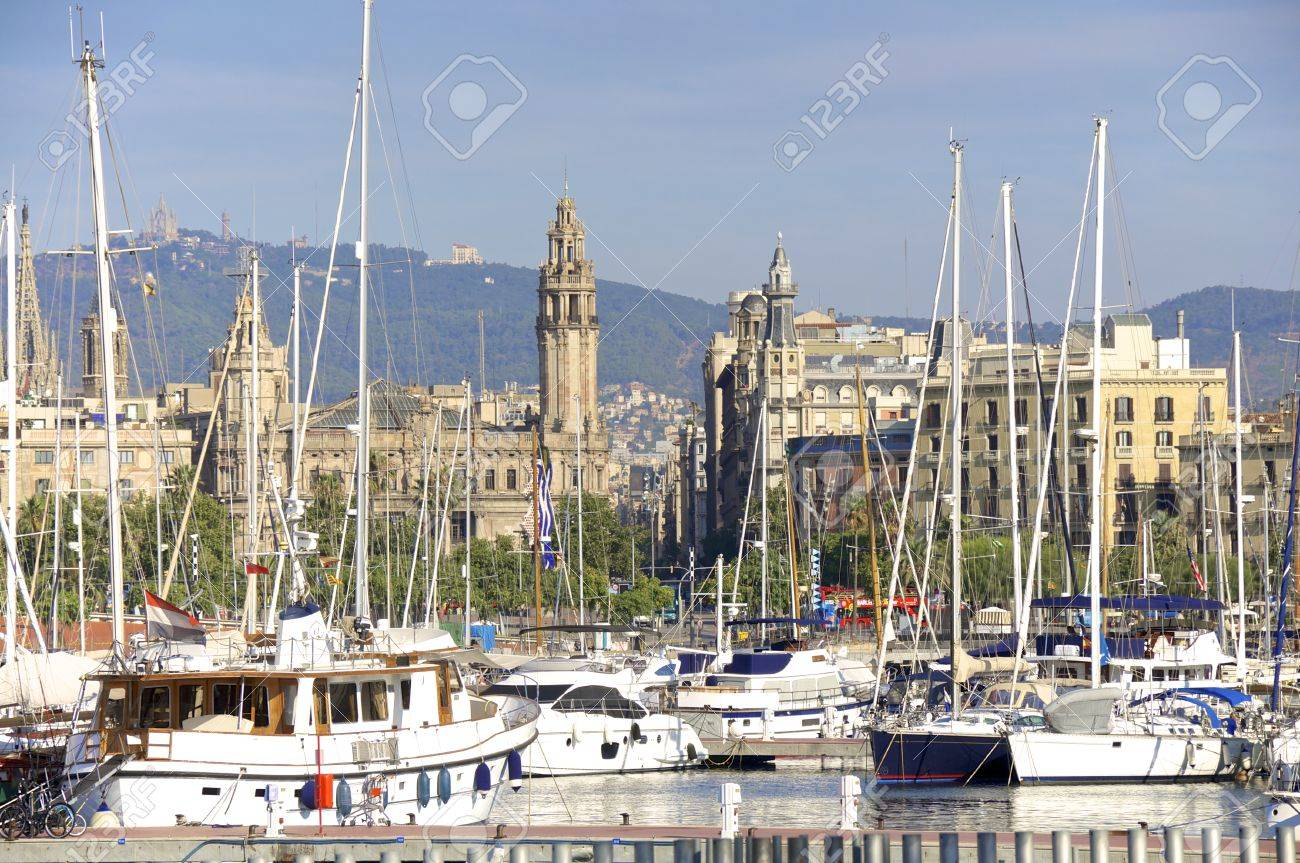 View Over The Marina Port Vell To Ciutat Vella In Barcelona .. Stock ...