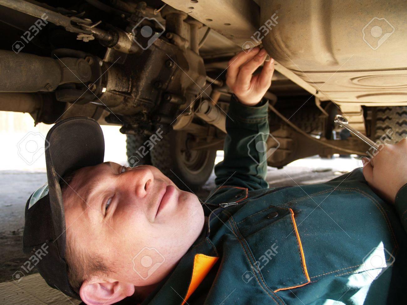 The professional Mechanic behind work. Lorry repair. Stock Photo - 5412070