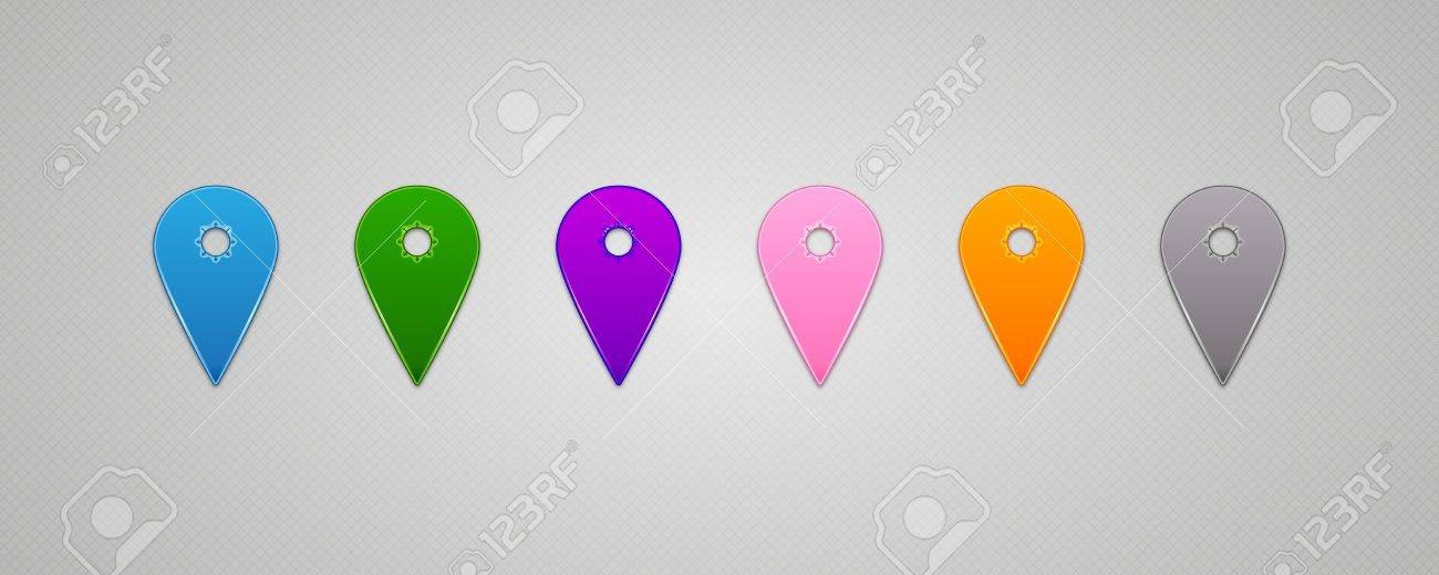 Set of Vector colorful Map Pins Pointer Stock Vector - 15595837