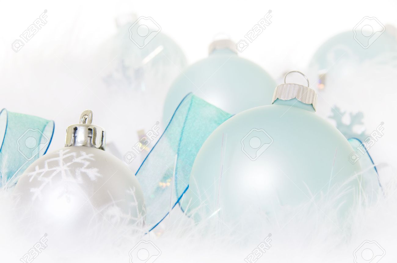 Pastel Turquoise Christmas Ornaments With Snowy Feathers Stock Photo   5444908