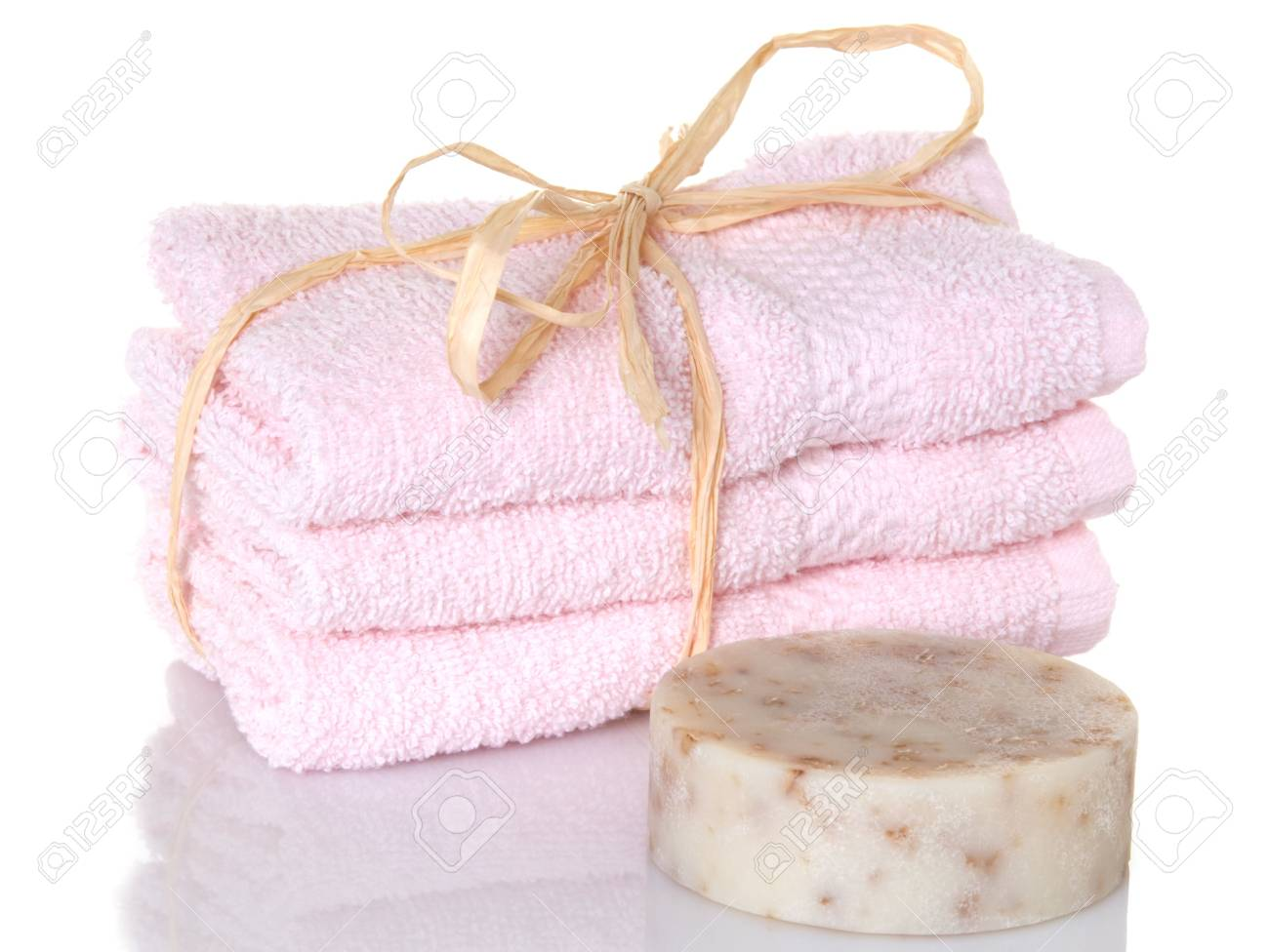 Pink towelettes with a bar of oatmeal soap - 5444949