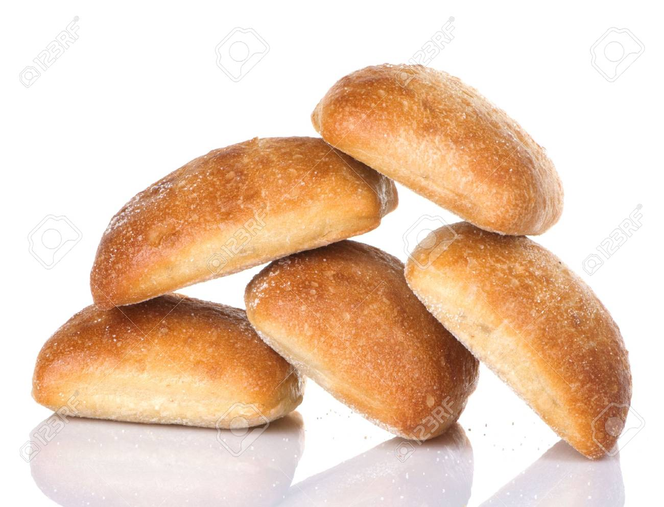 Five golden brown Italian Ciabatta Rolls Stock Photo - 5954756