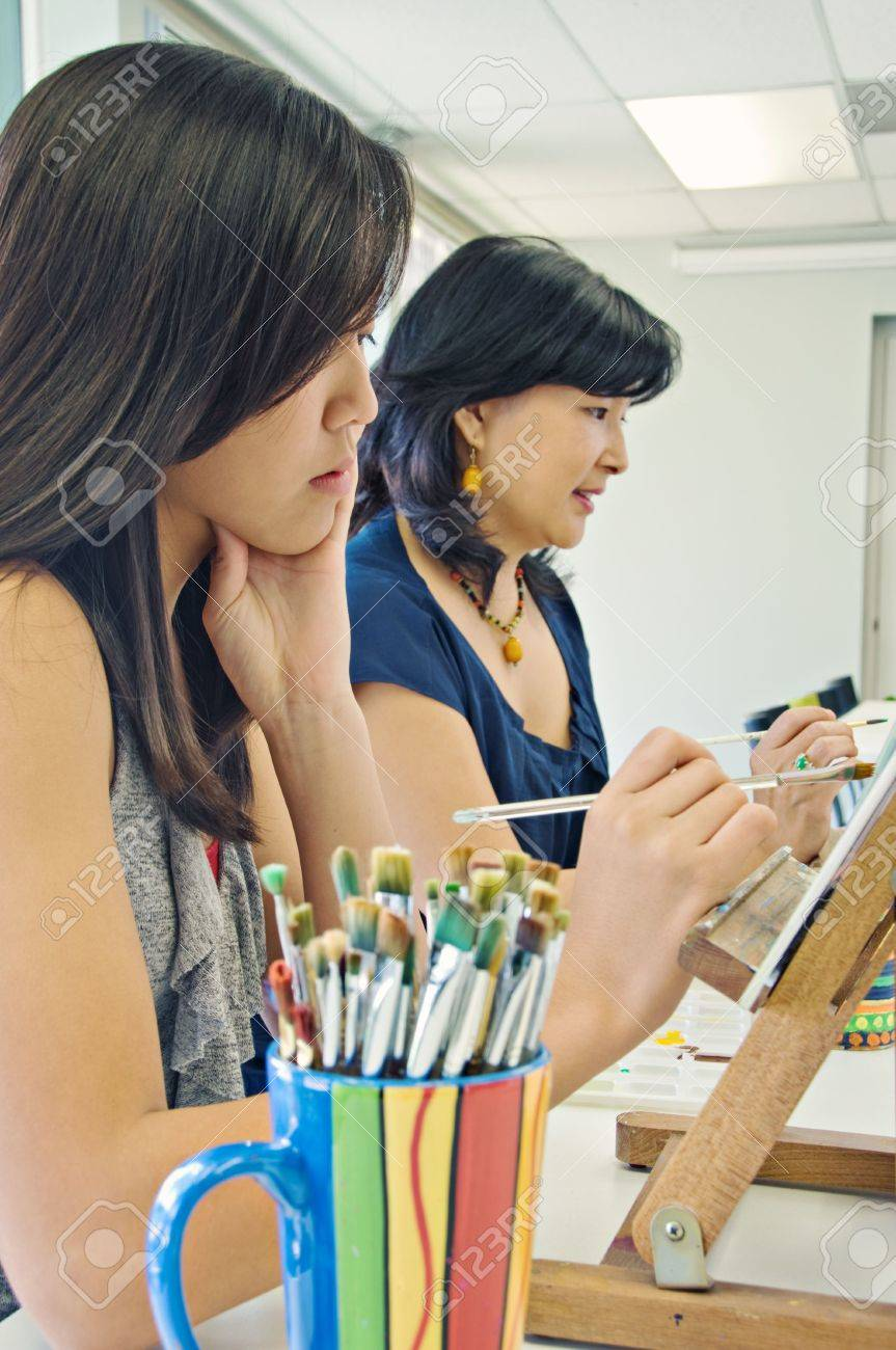Art class with teen girl and adult Stock Photo - 7856771