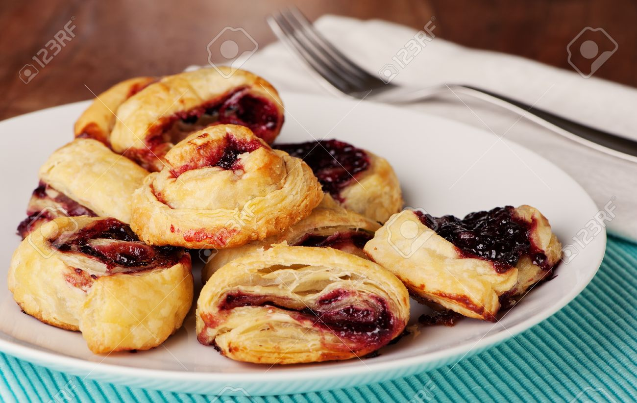 Pastries Made With Filo Dough And Jam Quick And Easy For Breakfast Or Dessert Stock