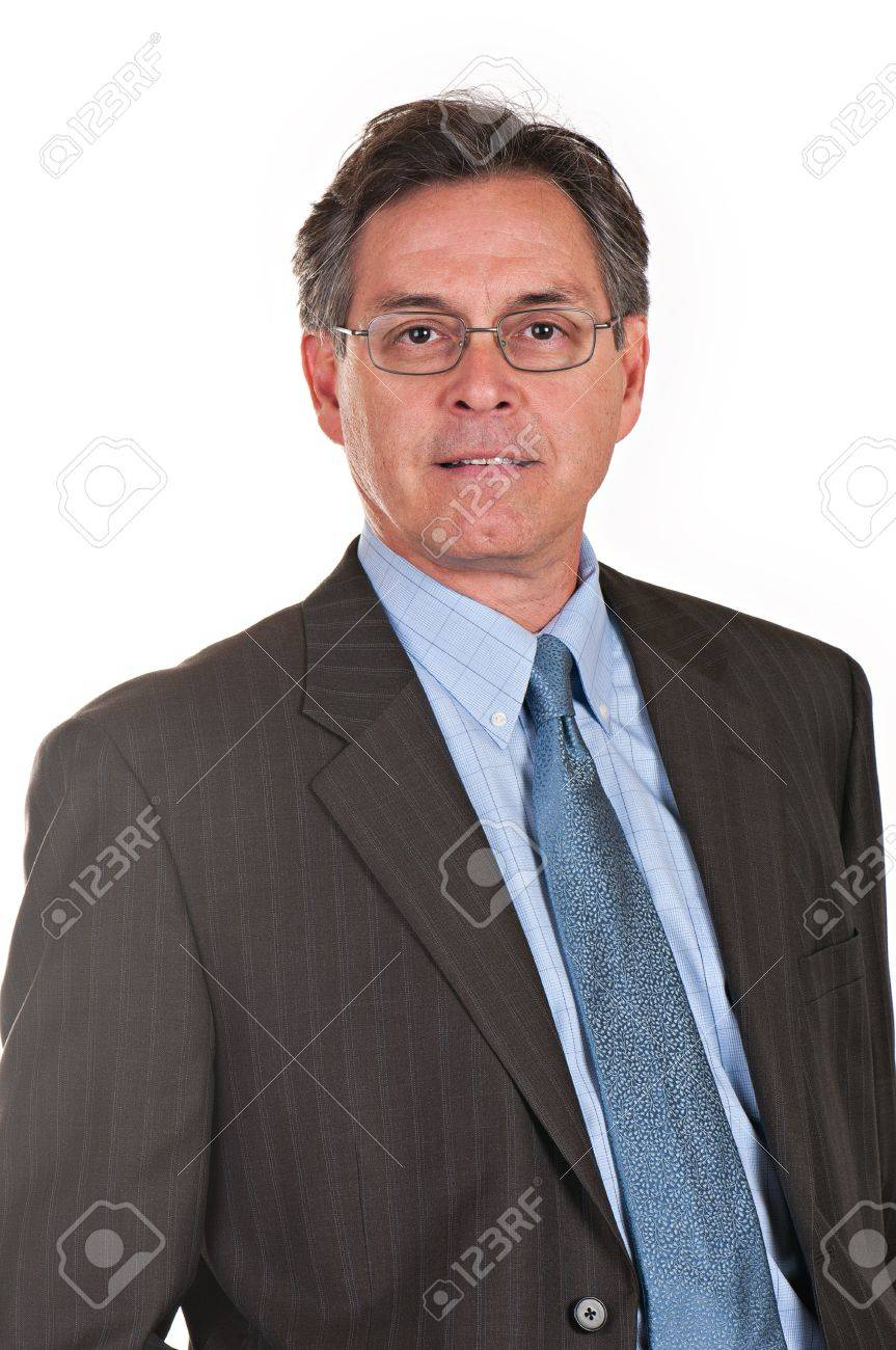 Middle aged businessman wearing eyeglasses, suit, and tie, looking at camera. Stock Photo - 11956959