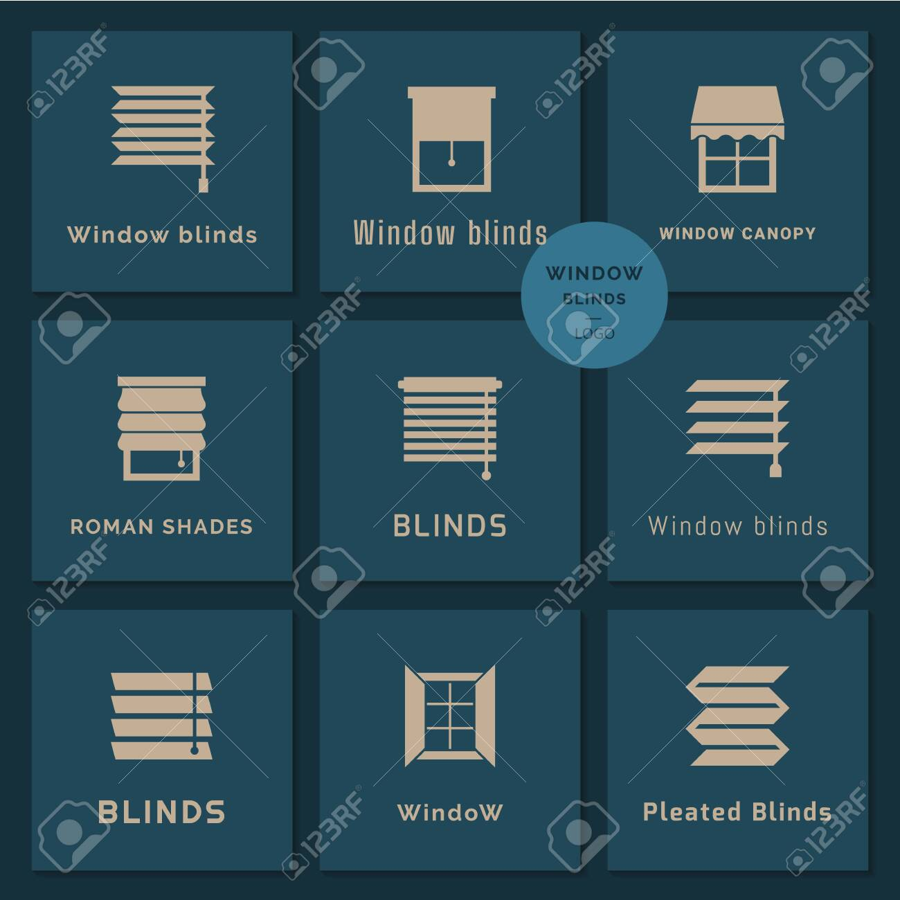 Pixel perfect logotypes set in vector. Vector isolated icons set of window blinds vector glyph icons. Window treatments and curtains glyph icons set. Interior design, home decor shop. - 132897893