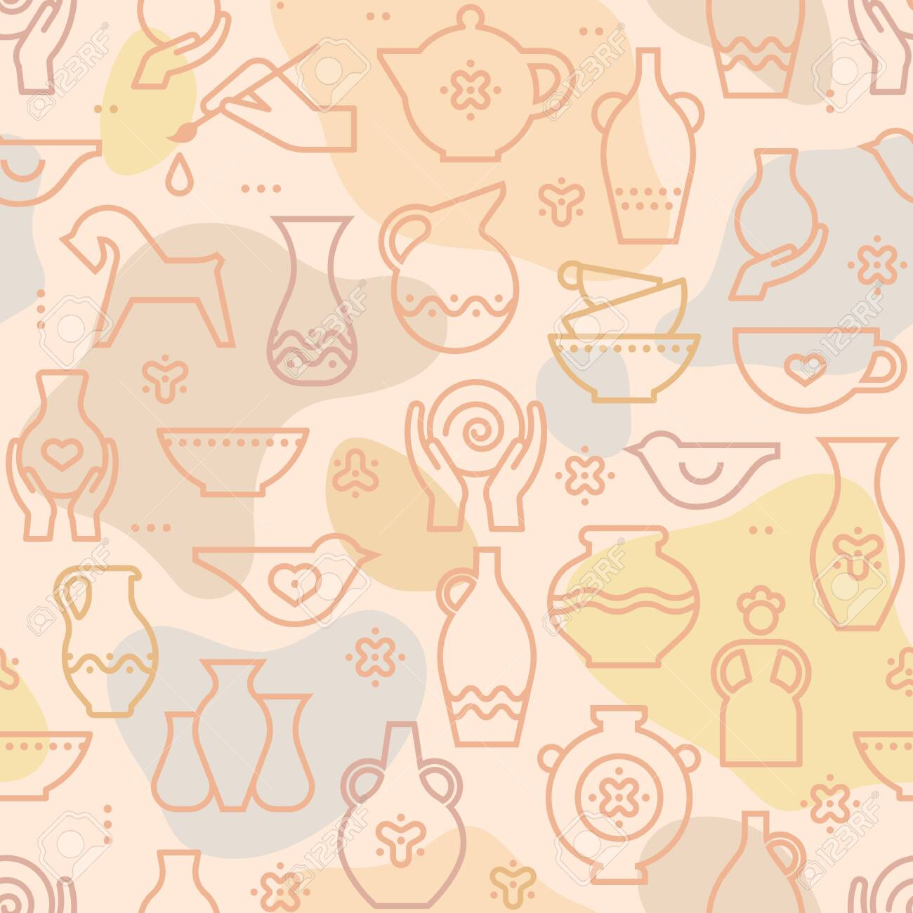 Vector Pottery Seamless Pattern Ceramics For Art Studio Design Royalty Free Cliparts Vectors And Stock Illustration Image 140722160