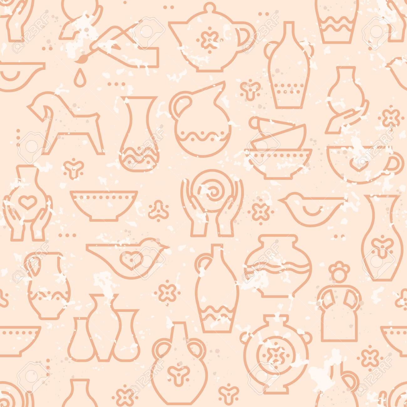 Vector Pottery Seamless Pattern Ceramics For Art Studio Design Royalty Free Cliparts Vectors And Stock Illustration Image 142263055